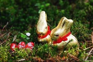 Schöne Ostern wünscht das Osterhasen-Pärchen vom Kalterer See