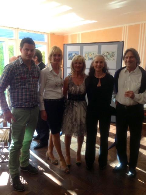 Künsterlin Rosette Wieland mit Gatten (r.), Marion und Agnes De Carli (v.l.) und Lukas Gerstl