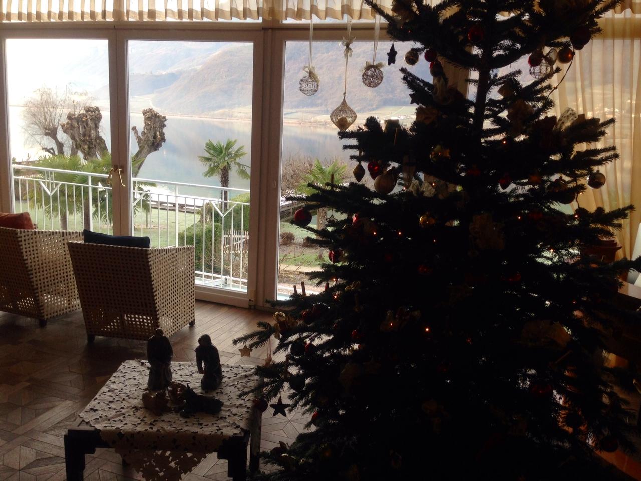 Unser Weihnachtsbaum hat mit roten und goldenen Kugeln geschmückt